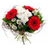 Букет №5 (хризантеы, герберы, альстромерии, декор.зелень)
