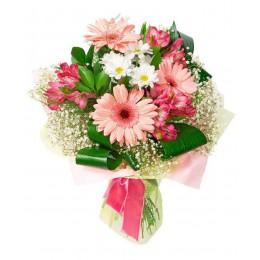Букет №12 (хризантема, герберы, альстромерии, декор.зелень)