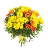 Букет №13 (хризантемы, куст. розы, декор.зелень)