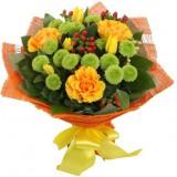 Букет №46 (розы, хризантемы, тюльпаны, гиперикум)
