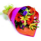 Букет №52 (лилия, герберы, эустома, хризантемы,  статица, декор.зелень)