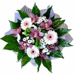 Букет №53 (орхидеи, герберы, хризантемы, декор.зелень)