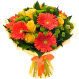 Букет №143 (герберы, розы, хризантемы, декор.зелень)