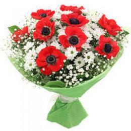 Букет №152 (анемоны, хризантемы, декор.зелень)