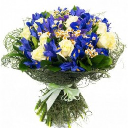 Букет №154 (розы, ирисы, танацетум, декор.зелень)