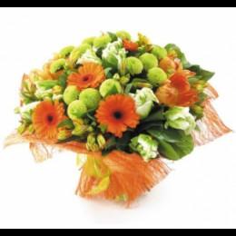 Букет №159 (герберы, альстромерии, хризантемы, тюльпаны, декор.зелень)
