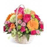 Корзина №11 (5 роз, 4 хризантемы, 2 герберы, 8 гвоздик,  декор.зелень)