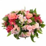 Корзина №17 (8 альстромерий, 5  роз, 4 куст.роз, декор.зелень)