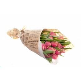 Букет в крафте №1 (15 тюльпанов)
