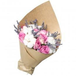 Букет в крафте №7 (9 роз, хлопок, лимониум)