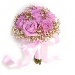 Букет невесты №2 (розы, зелень, декор)