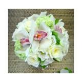 Букет невесты №3 (орхидеи, розы, эустома, гортензия, зелень, декор)