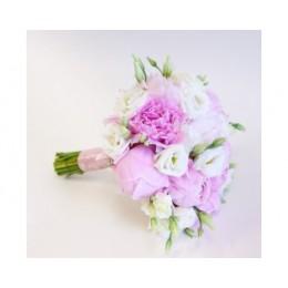 Букет невесты №4 (пионы, эустома, зелень, декор)