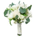 Букет невесты №6 (розы, фрезии, зелень, декор)