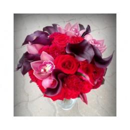 Букет невесты №9 (розы, каллы, орхидеи, целозия, зелень, декор)