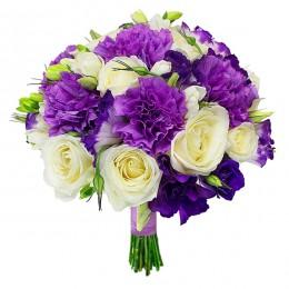 Букет невесты №12 (розы, куст.розы, эустома, зелень, декор)