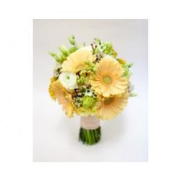 Букет невесты №18 (герберы, ранункулусы, эустома, бувардия, гиацинты, зелень, декор)