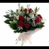 Букет №217 (лилии, розы, эустома, декор.зелень)