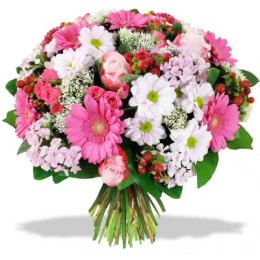 Букет №227 (герберы, розы, куст.розы, хризантемы, гиперикум,  декор.зелень)