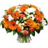 Букет №234 (розы, герберы, ранункулусы, фрезии, куст.гвоздики, хризантемы, декор.зелень)